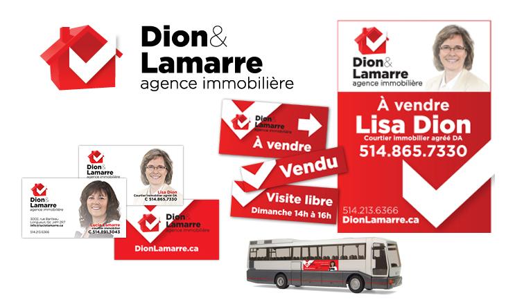 Client DionLamarre Agence Immobiliere Documents Conception Logo Pour Nouvelle Incluant Cartes De Visite Serie Daffiches